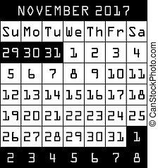 2017 Calendar month of November black