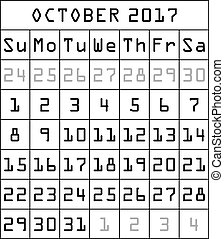 2017 Calendar month of October