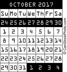 2017 Calendar month of October black