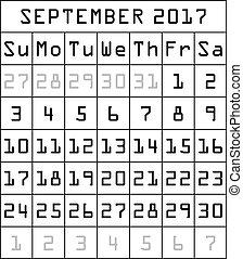 2017 Calendar month of September