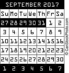 2017 Calendar month of September black