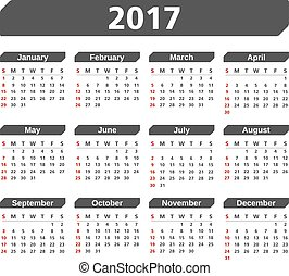 2017 Calendar on white background, vector eps10 illustration