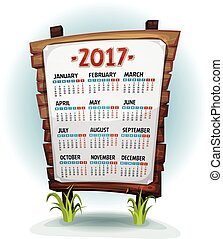 2017 Calendar On Wood Sign