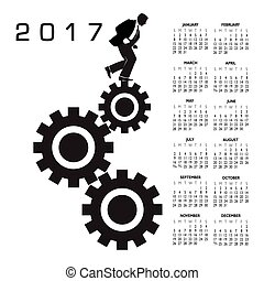 2017 calendar with a worker in the rat race graphic