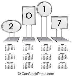 2017 calendar with chrome sign holders