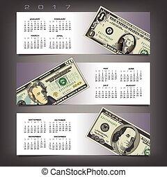 2017 calendar with three money bann