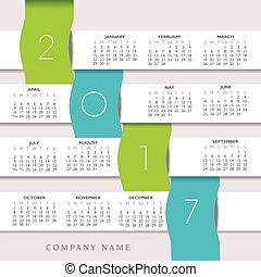 2017, calendario, colorido, creativo