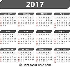 2017, calendario