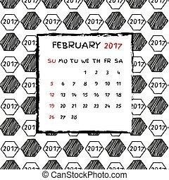 2017., calendario, inglés