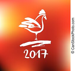 2017 Chinese New Year of the red Rooster. Vector Illustration