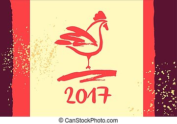 2017 Chinese New Year of the red Rooster. Vector Illustration.