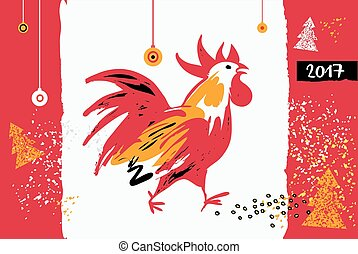 2017 Chinese New Year of the Rooster. Vector Illustration. Templ