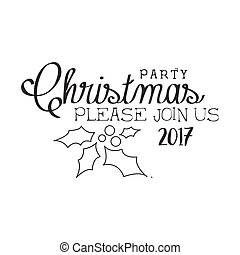 2017 Christmas Party Black And White Invitation Card Design...