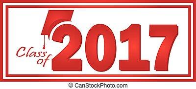 2017, classe, graduazione, rosso