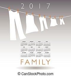 2017, concept, kalender, gezin