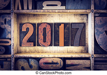 "2017 Concept Letterpress Type - The word ""2017"" written in..."