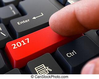 2017 - Concept on Red Keyboard Button. 3D.