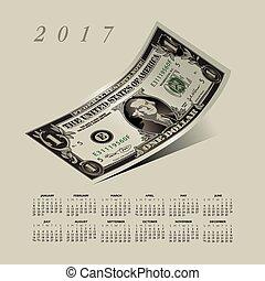 2017, conta, dólar, calendário, ondulado