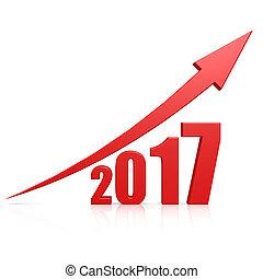 2017, croissance, flèche rouge