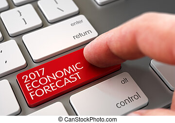 2017 Economic Forecast - Keyboard Key Concept. 3D. - Hand...