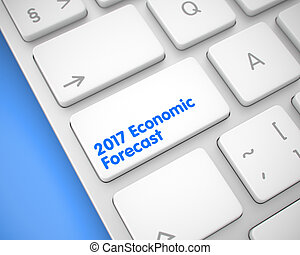 2017 Economic Forecast - Message on White Keyboard Keypad. 3D.
