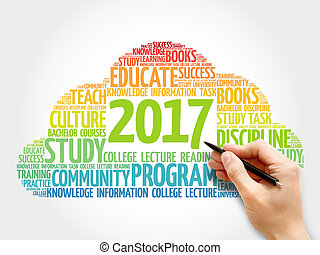 2017 Education word cloud business collage
