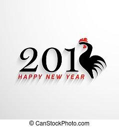 2017, felice anno nuovo, con, creativo, gallo, concetto