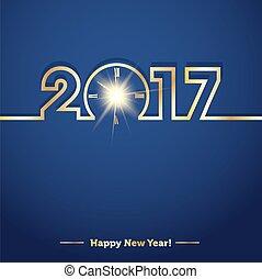 2017, felice anno nuovo, con, creativo, mezzanotte, orologio
