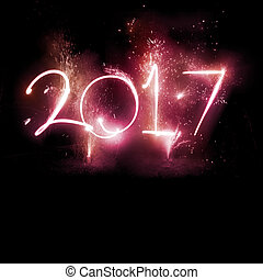 2017, feuerwerk, party, -, jahreswechsel, display!