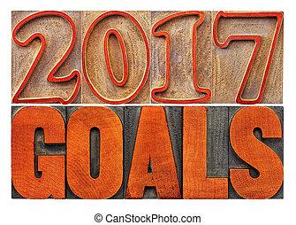 2017 goals banner in wood type