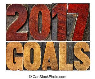 2017 goals in letterpress wood type