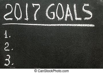 2017 Goals message written on blackboard.