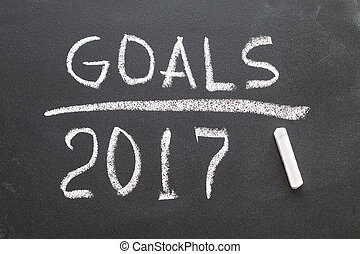 2017 Goals message written on blackboard