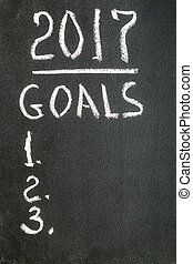 2017 Goals message written on blackboard