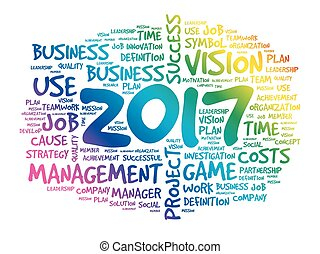 2017 Goals word cloud business concept background