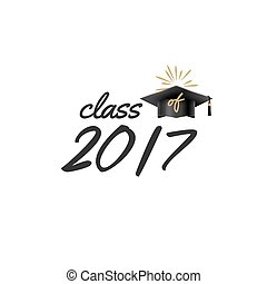 2017 graduate class with cap. Academy college education celebration. Vector student ceremony