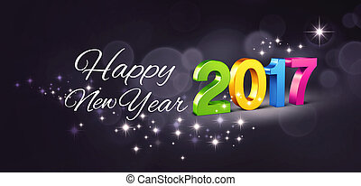 Colorful 2017 New year type and greetings on a glittering black background - 3D illustration