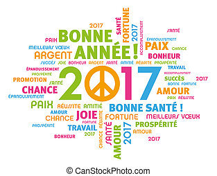 2017 Greeting card for peace - Colorful greeting French...