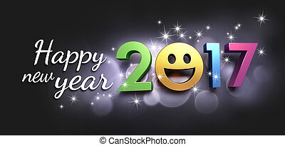 2017 Greeting card for smiling - Colorful 2017 year type...