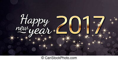 2017 Greeting card - Gold 2017 year type and greetings on a ...