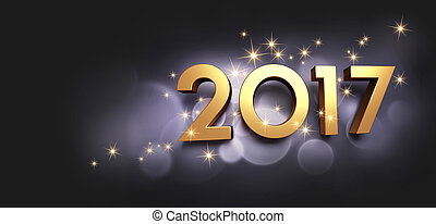 2017 Greeting card - Gold 2017 New Year type on a festive...