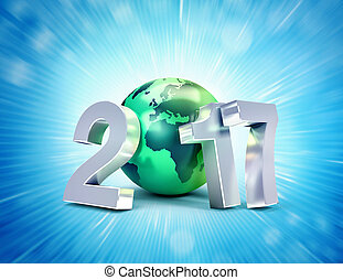 2017 Greeting symbol for a new world