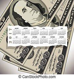 2017, halabarda, dolar, projektować, kalendarz, 100