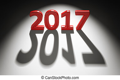 2017 Happy New Year background. 3d letters and shadows. 3d illustration