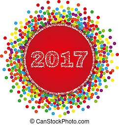 2017 Happy New Year background with confetti. Stock - Vector