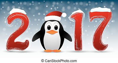 Happy New Year background with penguin.
