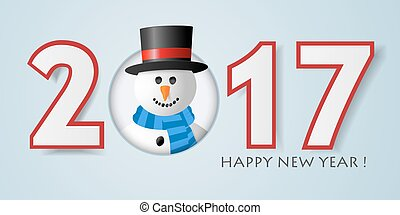 Happy New year background with snowman.