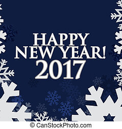 2017 Happy New Year. Blue snowflakes background
