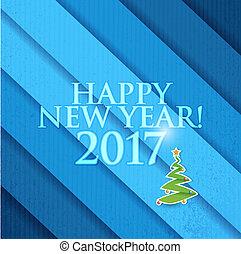 2017 Happy New Year christmas tree. Blue texture
