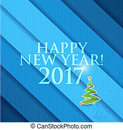 2017 Happy New Year christmas tree. Blue texture